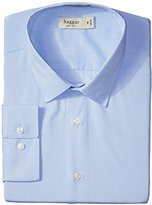 Haggar Men's Fitted Mechanical Stretch Solid Long-Sleeve Dress Shirt