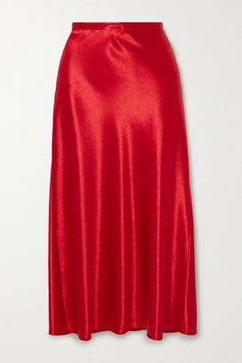 Sies Marjan Aliya Hammered-satin Midi Skirt