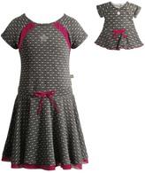 Dollie & Me Gray & Fuchsia Dot Dress & Doll Dress - Girls