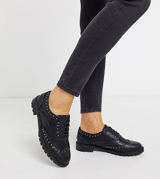 New Look Wide Fit studded brogues in black