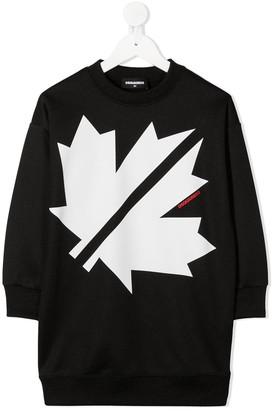 DSQUARED2 Maple Leaf print sweatshirt-dress