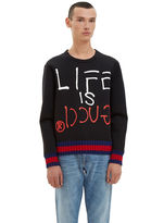 Gucci Men's Oversized Guccighost® Screen- Printed Sweater In Black