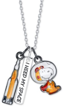 """Peanuts Unwritten Astronaut Snoopy Pendant Necklace in Fine Silver-Plate, 16"""" + 2"""" extender"""