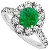 LoveBrightJewelry 2 Carat Created Emerald May and CZ April Birthstone 14K White Gold Engagement Ring