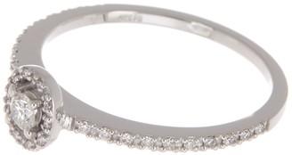 Breuning 14K White Gold Diamond Pave Oval Halo Diamond Ring - 0.22 ctw