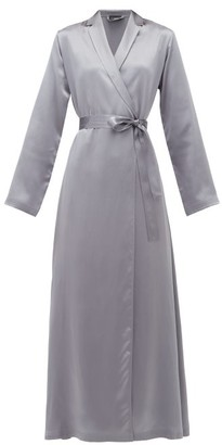 La Perla Belted Long Silk-satin Robe - Womens - Dark Grey