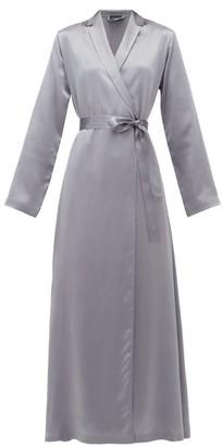 La Perla Belted Long Silk-satin Robe - Womens - Dark Grey