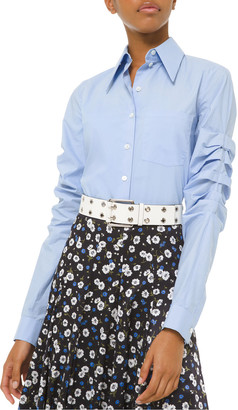 Michael Kors Ruched Poplin Button-Front Shirt