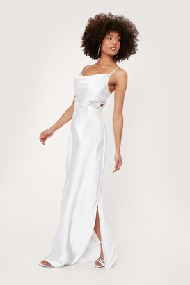 Nasty Gal Womens Bridal Lace Insert Cowl Neck Maxi Dress - White - 10