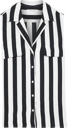 Frame Striped Silk Crepe De Chine Shirt