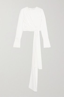 16Arlington Tie-detailed Crepe Top - White