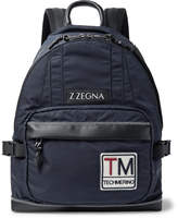 Z Zegna Leather-Trimmed Shell Backpack