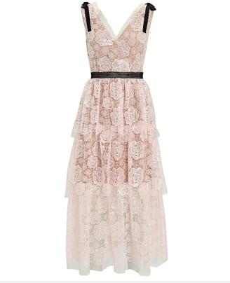 Self-Portrait Starlet Tiered Lace Midi Dress