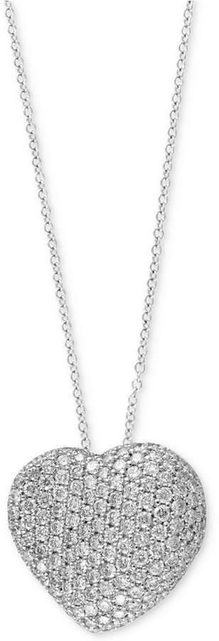 Effy Pave Classica by Diamond Heart Pendant Necklace (2 ct. t.w.) in 14k White Gold
