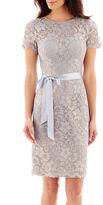 JCPenney Jackie Jon Short-Sleeve Metallic Lace Sheath Dress