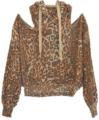 NSF Tricia Leopard Cold-Shoulder Hoodie