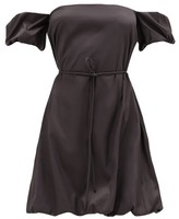 STAUD Ash Belted Off-the-shoulder Puffball Dress - Womens - Black