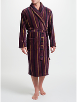 John Lewis Stripe Velour Cotton Robe, Burgundy
