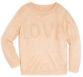 Aqua Girls' Embroidered Love Textured Sweater - Sizes S-XL