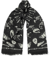 Alexander Mcqueen - Fringed Printed Wool And Silk-blend Scarf