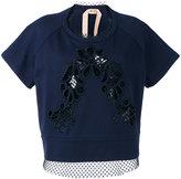 No.21 lace-panelled sweatshirt - women - Cotton/Polyester - 44
