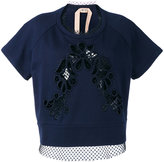 No.21 lace-panelled sweatshirt - women - Cotton/Polyester - 46
