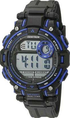 Armitron Sport Unisex 45/7066BLU Blue Accented Digital Chronograph Matte Black Resin Strap Watch
