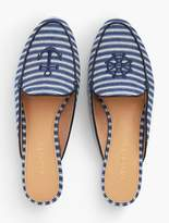 Talbots Ryan Striped Denim Mules With Anchor Embroidery