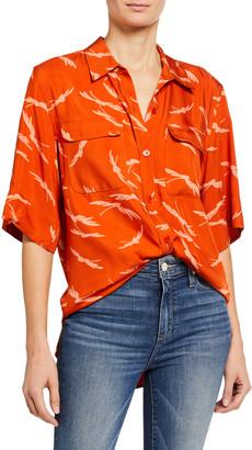 Equipment Marilau Elbow-Sleeve Button-Down Shirt