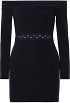 Dion Lee Off-the-shoulder Cutout Stretch-ponte Mini Dress - Black