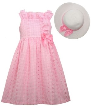Bonnie Jean Little Girls Sleeveless Eyelet Waistline Dress with Bodice, Side Bow and Matching Hat