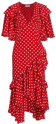 Michael Kors Polka Dot Ruffle Silk Dress