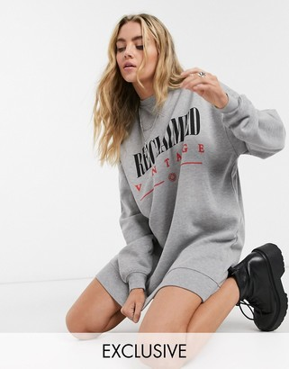 Reclaimed Vintage inspired sweat dress with logo in gray