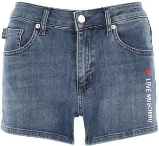 Love Moschino Logo Denim Shorts