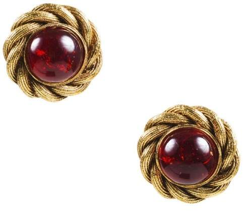 Chanel Gold Tone Red Stone Woven Clip On Cocktail Earrings