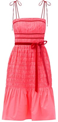Molly Goddard Joyce Velvet-trimmed Shirred-taffeta Dress - Pink