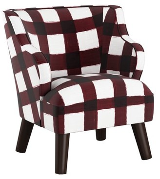 Skyline Furniture Kids Modern Chair in Buffalo Square Holiday Red
