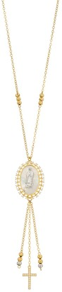 Two Tone Sterling Silver Mother-of-Pearl Virgin Mary & Cross Pendant Necklace