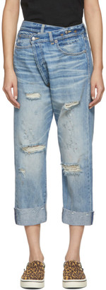 R 13 Blue Cross-Over Jeans