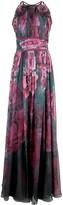 Marchesa floral printed chiffon gown