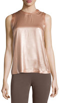 Brunello Cucinelli Laminated Silk Sleeveless Top, Pink