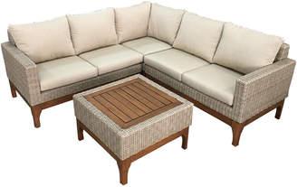 Outdoor Interiors 4Pc Ash Wicker & Eucalyptus Sectional Sofa Set