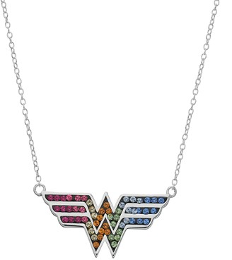 DC Comics Sterling Silver Crystal Wonder Woman Necklace