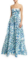 Monique Lhuillier Strapless Pleated Floral Ball Gown, Pacific Blue/Multi