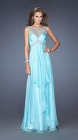 La Femme Illusion Scoop Neckline Draped A-line Evening Dress 20026