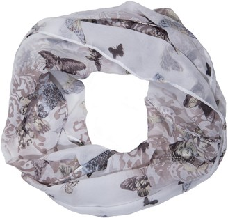 MANUMAR loop scarf for women delicate shawl in grey with butterfly pattern as perfect summer accessory tube/circle/infinity scarf scarf wrap
