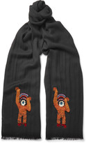 Paul Smith - Monkey-embroidered Wool Scarf