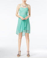 Amy Byer Juniors' Lace Illusion-Waist High-Low Dress