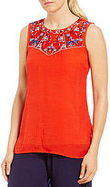 I.N. Studio Sleeveless Embroidered Gauzy Texture Top
