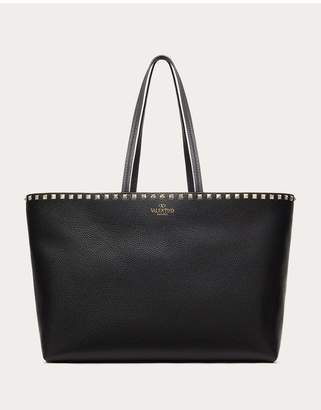 Valentino Garavani Large Grain Calfskin Leather Rockstud Shopping Bag